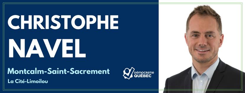 Christophe Navel - Candidat de Démocratie Québec aux élections municipales de Québec dans le district Montcalm-Saint-Sacrement - La Cité Limoilou