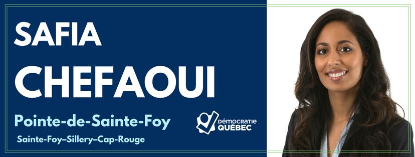 Safia Chefaoui - Candidate de Démocratie Québec aux élections municipales de Québec dans le district Pointe-de-Sainte-Foy - Sainte-Foy-Sillery-Cap-Rouge