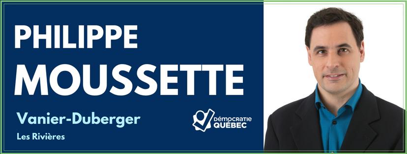 Philippe Moussette - Candidat de Démocratie Québec aux élections municipales de Québec dans le district Vanier-Duberger - Les Rivières